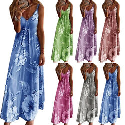 Womens Summer Floral Long Dress Ladies Boho Beach Holiday Maxi Dress Size S 5XL
