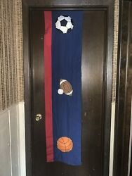 """1 Boys Bedroom Sports Valance Measures 66"""" X 10"""" Puffy Sports Balls Preowned $10.00"""