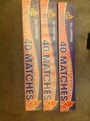 3 BOXES IN LOT LONG 11quot; MATCHES 40 IN BOX FIREPLACE GRILL BBQ CANDLE CAMPING $11.99
