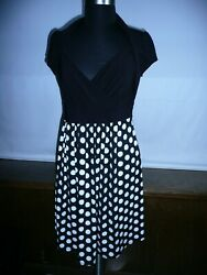 DOTS WOMENS BLACK WHITE DRESSES SIZE L MADE IN USA $19.50