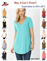Womens Short Sleeve T-Shirt V-Neck Casual Basic Tunic Top Long Loose Blouse S-3X $9.90