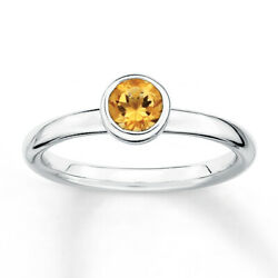 0.79 CT Citrine Stackable Solitaire Ring November Birthstone in Sterling Silver $118.69