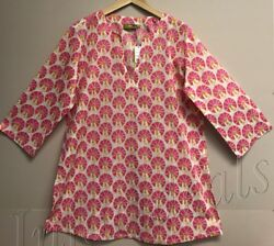 Women#x27;s RockFlowerPaper 100% Cotton Kurta tunic top Tezer Pink Size M Medium $9.99