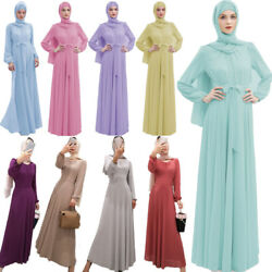 Women Muslim Chiffon Long Sleeve Maxi Dress Ramadan Islamic Abaya Kaftan Robe $40.42