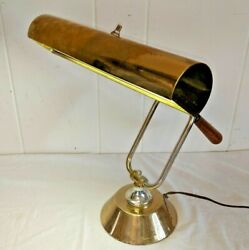 Vintage brass bankers desk piano lamp office mcm antique gold mid century $85.00