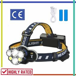 HEADLAMP Rechargeable Waterproof Flashlight Head Lights for Camping LED ELMCHEE $17.88