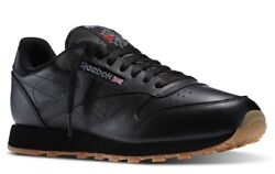 Reebok Classic Leather Black Gum Sole Casual Mens Shoes Sneakers 49798 Sizes $62.95