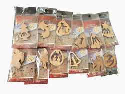 Set of 12 Christmas Tree Nativity Ornaments Handcarved from Bethlehem Olive Wood $13.99