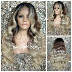 Long Lace Front Wig Blonde Body Wave Brown 13x6 Parting Baby Hair Heat Safe $72.06