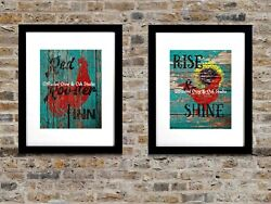 Set of 2 Art Prints Rustic Country Rooster Kitchen Decor Matted Picture USA A040 $18.95