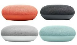 Google Home Mini Smart Speaker with Google Assistant Charcoal Chalk Coral Aqua