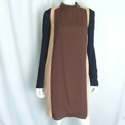 O'2nd For Barneys New York Co Op Women Dress 10 LS Colorblock Brown Navy $53.99
