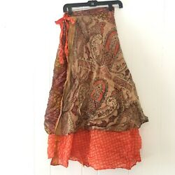 Mastik Womens OS Wrap Skirt Tie Boho Hippie Festival Gold Red Double Layer Maxi $19.99