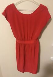 MNG By Mango Ladies Coral Red Summer Dress Size M Cut Out Back - Short Sleeve $11.95