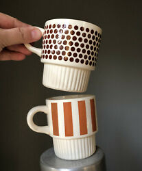 Vintage Mid Modern Brown Dots Striped Stacking Coffee Cups Pair USA McCoy $19.99