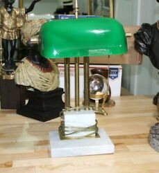 Vintage Bankers Desk Lamp Green Glass Shade Marble Base Brass Art Deco 17 x 10.5 $149.99