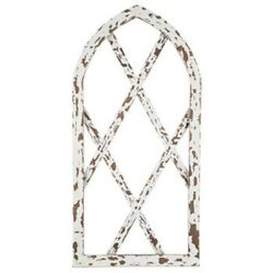 Chippy White Arched Wood Dark Brown Wall Home Decor Hanging 34quot; L 17quot; W $38.95