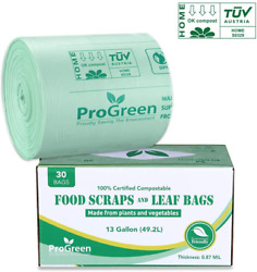 30 Count Progreen 100% Compostable Bags 13 Gallon Extra Thick 0.87 Mil $22.43