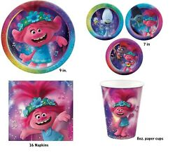 Trolls Movie World Tour Party Express Pack for 8 Guests Cups Napkins amp; Plates $16.99