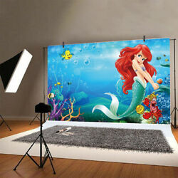 Little Mermaid Backdrop Girls Birthday Party Photography Background Decor Banner $8.99
