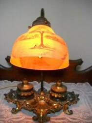 Ornate Brass Desk Lamp w Inkwells and Reverse Painted Artist Signed Shade $78.40