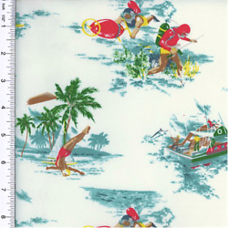 Designer Cotton Multi Island Print Decorating Fabric Fabric By The Yard $16.45