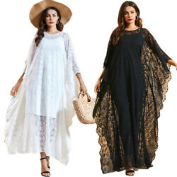 Women Ladies Lace Hollow Beach Cover Up Long Dress Oversize Holiday Beach Caftan $36.91