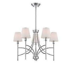 WORLD IMPORTS MILLAU5-LIGHT CHROME CHANDELIER W FABRIC SHADE # WI 9752-08 $15.99