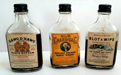 3 Vintage 1950s Gag Novelty Bottles Of Old Grand Gag Hawg amp; Hawg Blot amp; Wipe $19.95