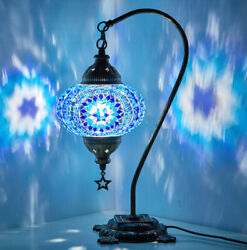 Turkish Moroccan Mosaic Colorful Swan Table Bedside Desk Lamp Lampshade Blue $41.90