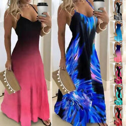 Womens Gradient Sundress Ladies Holiday Long Sling Party Maxi Strappy Boho Dress $19.59