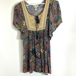 Flying Tomato Boho Festival Bohemian mini dress tunic bat sleeve tassels M $21.99