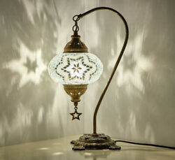 Turkish Moroccan Mosaic Colorful Swan Table Bedside Desk Lamp Lampshade WHITE $41.90