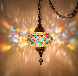 SWAG PLUG IN Turkish Moroccan Mosaic Ceiling Hanging Lamp Pendant Light Fixture $54.80