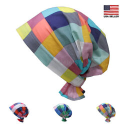 Gingham Cotton Scarf Slip On Pre Tied Turban Hat Chemo Cancer Beanie Women $12.99