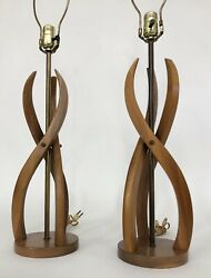 2 Mid Century Modern Teak Walnut Sculpted Twisted Vintage Table Lamp Pair $225.00