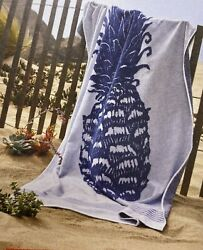 """Extra Long Reversible Beach Towel Pineapple 36"""" x 72"""" Blue & White Cotton NWT $19.90"""
