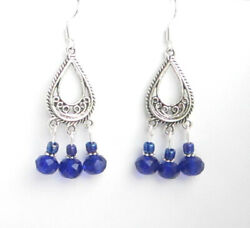 NEW-ROYAL BLUE CRYSTAL CHANDELIER EARRINGS-GORGEOUS!