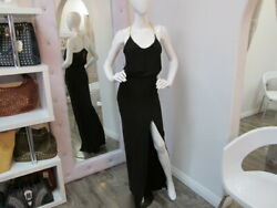 New Black Maxi Dress with Gold Chain Straps and Front Slit Size Small amp; Medium $13.00