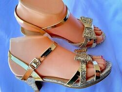 CHAMPAGNE HEEL PARTY GIRLS SANDALS SIZES:9 4 $8.99