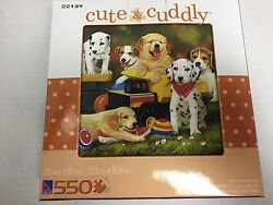 CUTE AND CUDDLY Puppy Play Group 550 Piece Jigsaw Puzzle New $9.95