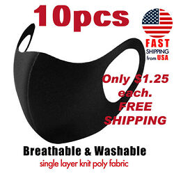 10PC Black Face Mask Washable Reusable Unisex Adult MASK     **IN STOCK**    USA $12.50
