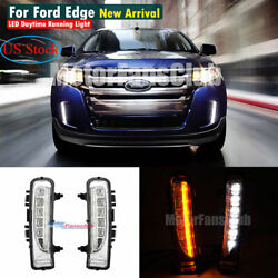 Pair LED Daytime Running Light For Ford Edge SUV Fog Lamp DRL 11-14 With Signal