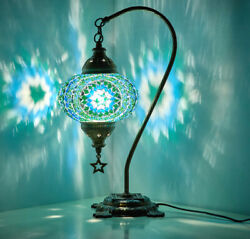 Turkish Moroccan Mosaic Colorful Swan Table Bedside Mood Lamp Lampshade TEAL $46.90