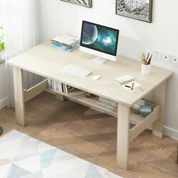 Computer Desk PC Laptop Table Wood Workstation Study Home Office Furniture White $52.99