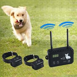 Wireless 2 COLLARS Dog Fence Pet Containment System Safe Effective Vibrate Shock $79.98
