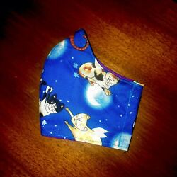 Blue Night Sky Flying Cats Angels Fitted face mask pocket filter Fabric Kitties $18.50