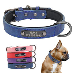 Personalized Dog Collar Leather Small Pet Collars Free Engraved ID Tag XS S M L $8.99