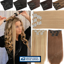 Ombre Mix Clip in 8 Pieces 100% Thick as Human Hair Extensions Full Head Long US $9.78