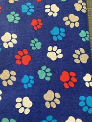 NEW Paw Prints on Navy Background 100% COTTON by the Half Yard $5.00